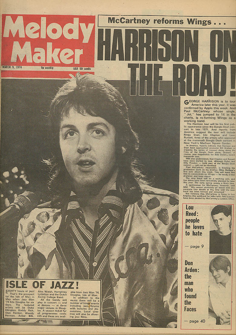 MELODY MAKER George Harrison McCartney & Wings Lou Reed Don Arden 3/9 1972