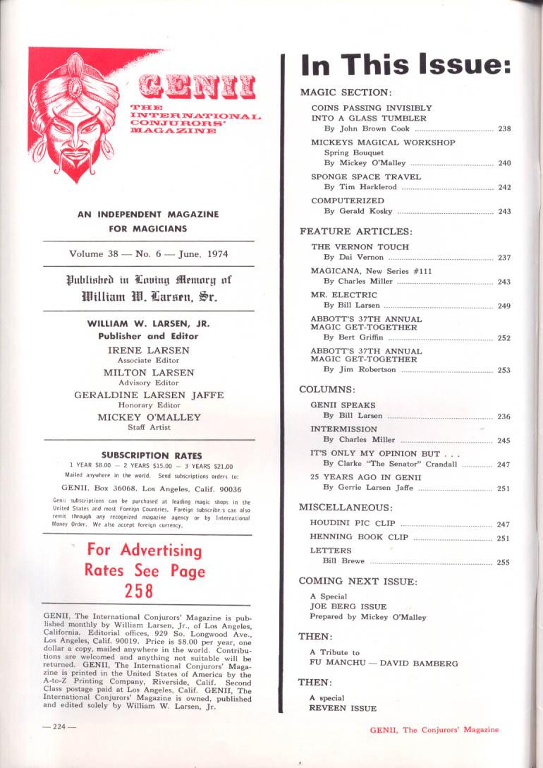 GENII Magician Magazine Mr Electric Marvyn & Carol Roy 6 1974