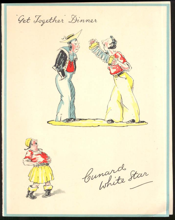 Cunard White Star R M S Franconia Get-Together Dinner Menu 6/29 1936