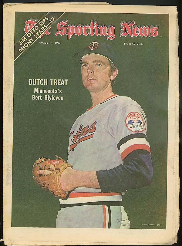 SPORTING NEWS Twins Bert Blyleven Jim Otto McCarver Mota Boog 8/4 1973