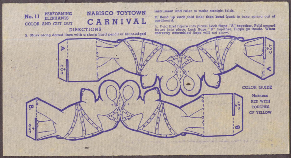 Nabisco Toytown Carnival card #11 Performing Elephants 1946