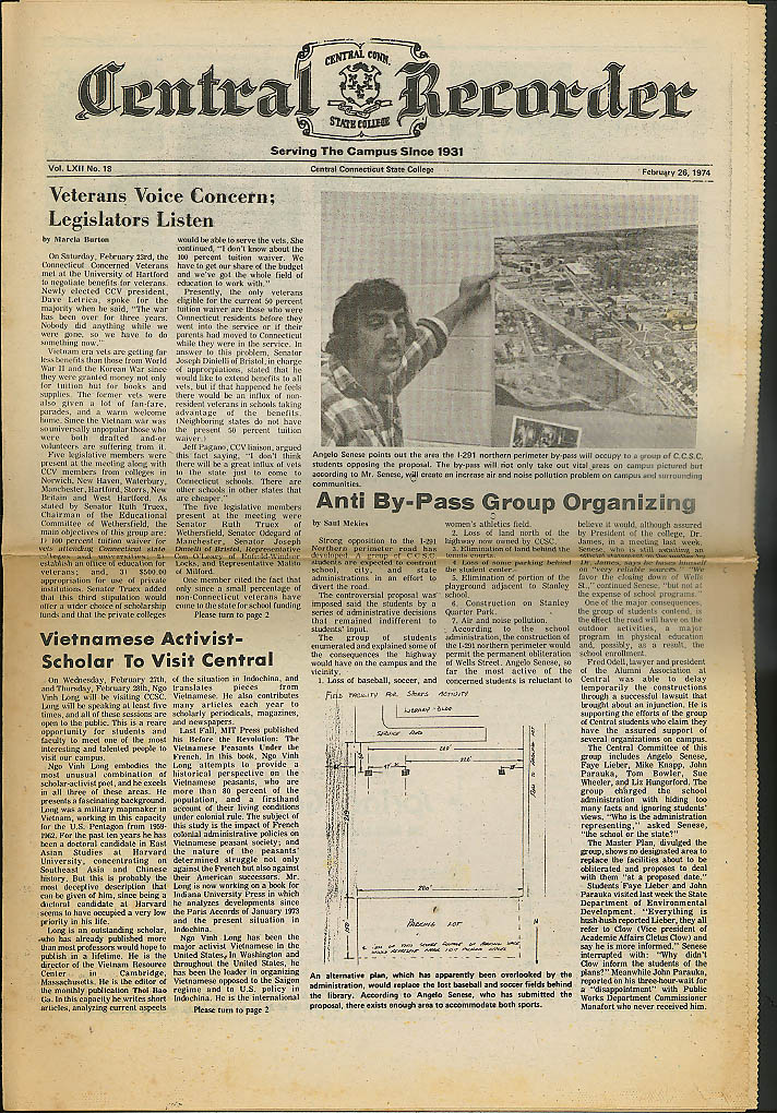 Central Connecticut State College CENTRAL RECORDER 2/26 1974