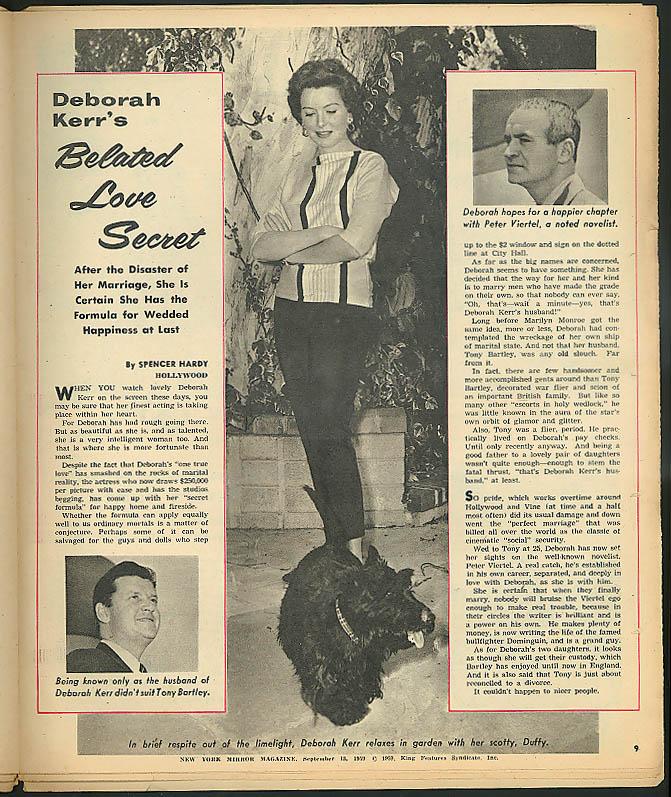 NEW YORK MIRROR Jack Benny Rockefellers Deborah Kerr Barbara Burns 9/13 1959