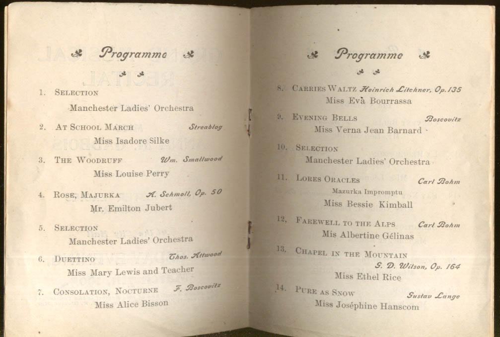 Pianist Anna M Gadbois Recital Program Manchester NH 3/7 1905
