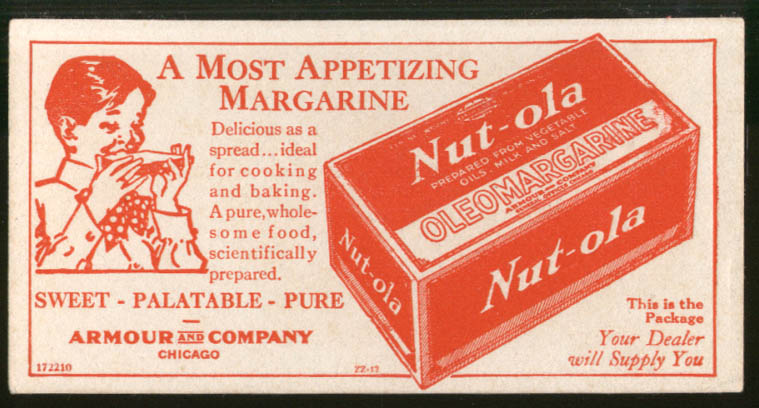 Armour Nut-ola Margarine advertising blotter 1922