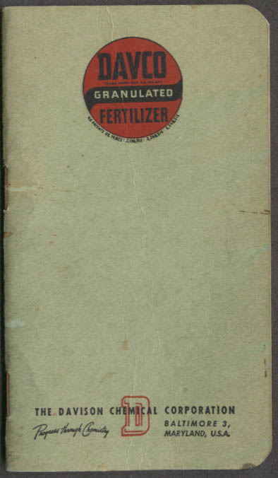 Davco Granulated Fertilizer pocket notebook 1946 Baltimore MD