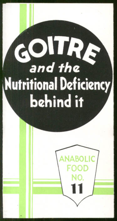 Goitre & Nutritional Deficiency Behind It Anabolic Food #11 folder 1930s