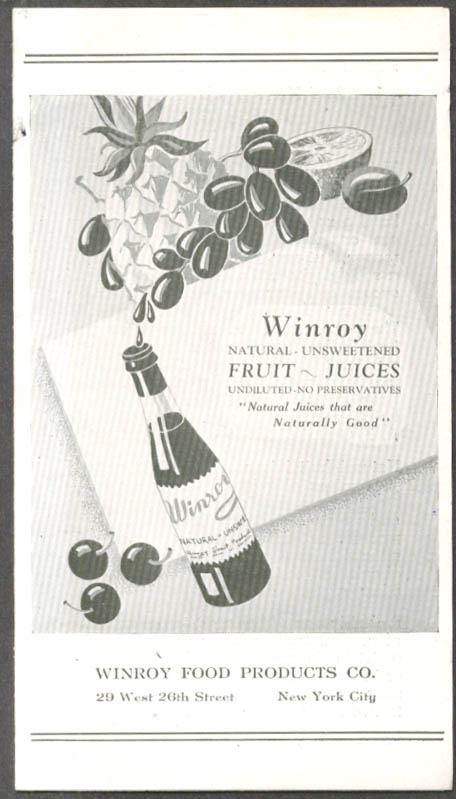 Winroy Natural Unsweetened Fruit Juices folder 1930s