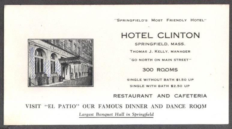 Hotel Clinton & El Patio Restaurant Springfield MA blotter ca 1940s