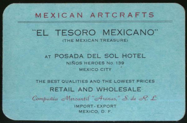 El Tesoro Mexicano Mexican Artifacts Mexico City pocket calendar folder 1947