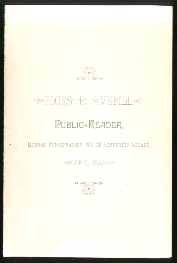 Flora H Averill Public Reader Monroe Conservatory folder Boston ca 1890s