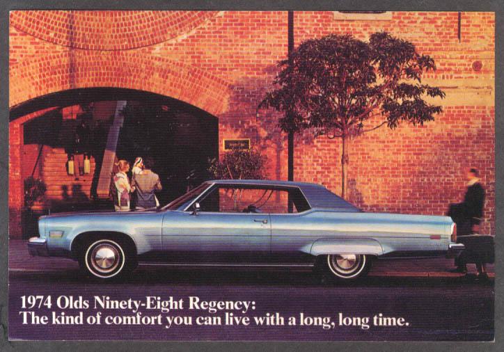 1974 Oldsmobile Ninety-Eight Regency 2-door hardtop jumbo dealer postcard