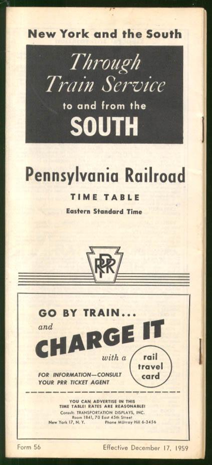 Pennsylvania Railroad NY-the South Time Tables 12/17 1959