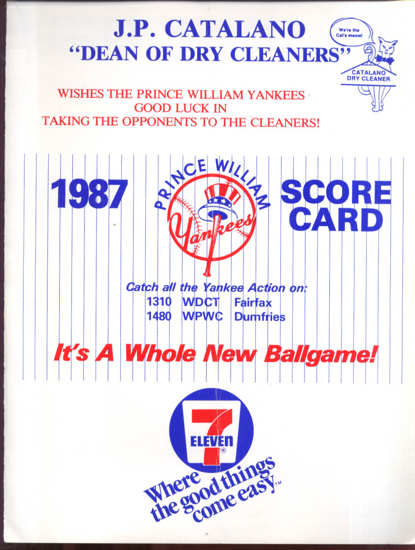 1987 Prince William Yankees unused scorecard