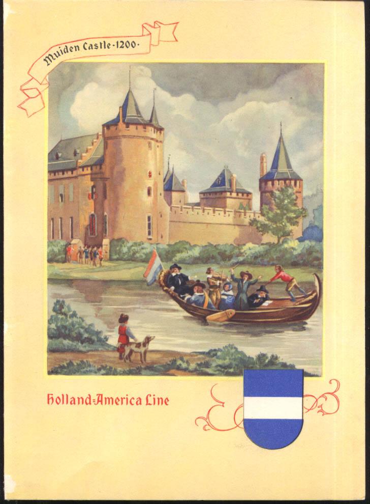 Holland-America S S Nieuw Amsterdam Dinner Menu 1/17 1956