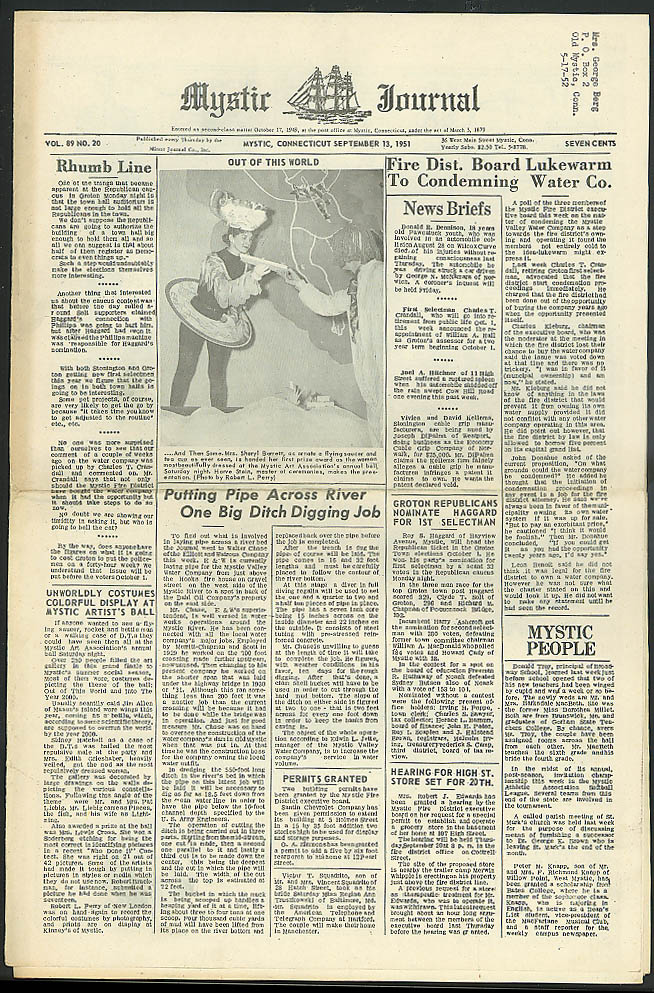 Condemn Water Co? river bed pipe, Art Ball MYSTIC JOURNAL 9/13 1951 CT