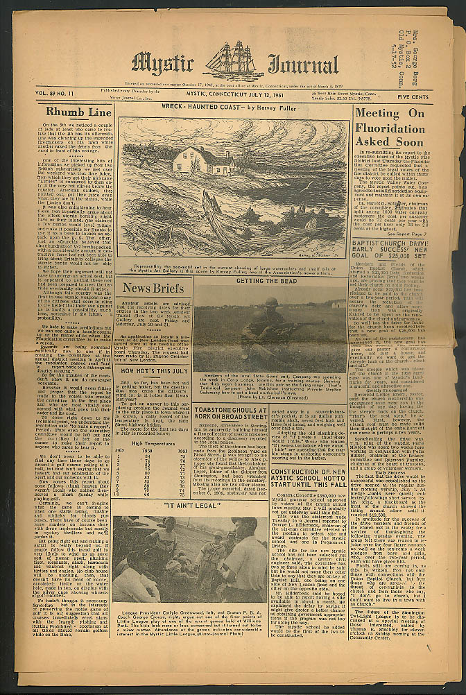 Fluoridation, new school, tombstone thefts MYSTIC JOURNAL 7/12 1951 CT