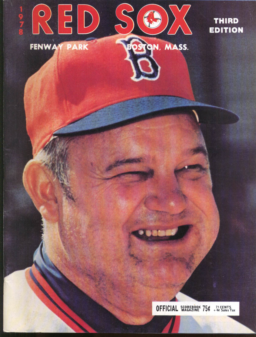 California Angels at Boston Red Sox Official Scorebook 8/26 1978