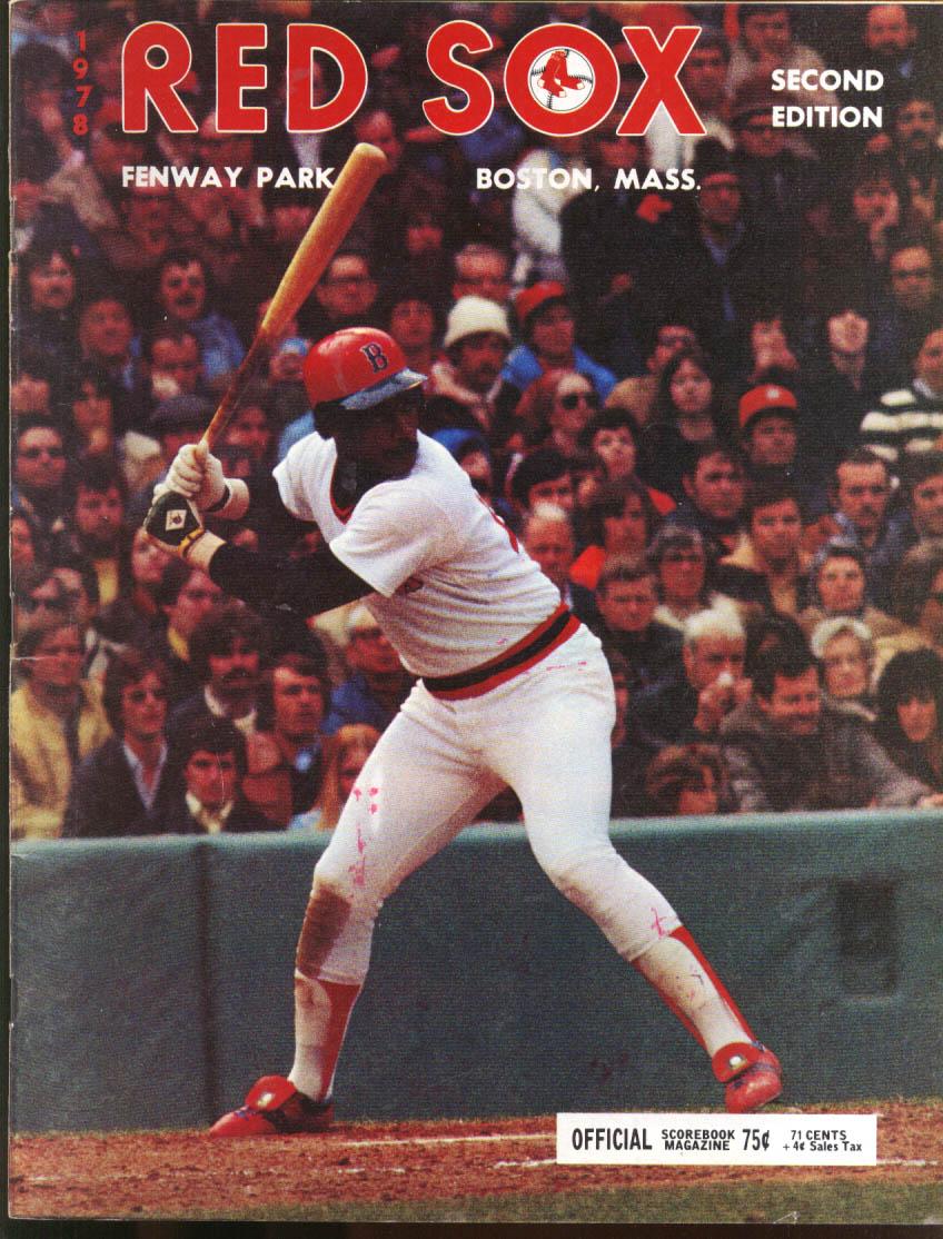 Kansas City Royals at Boston Red Sox Official Scorebook 7/30 1978