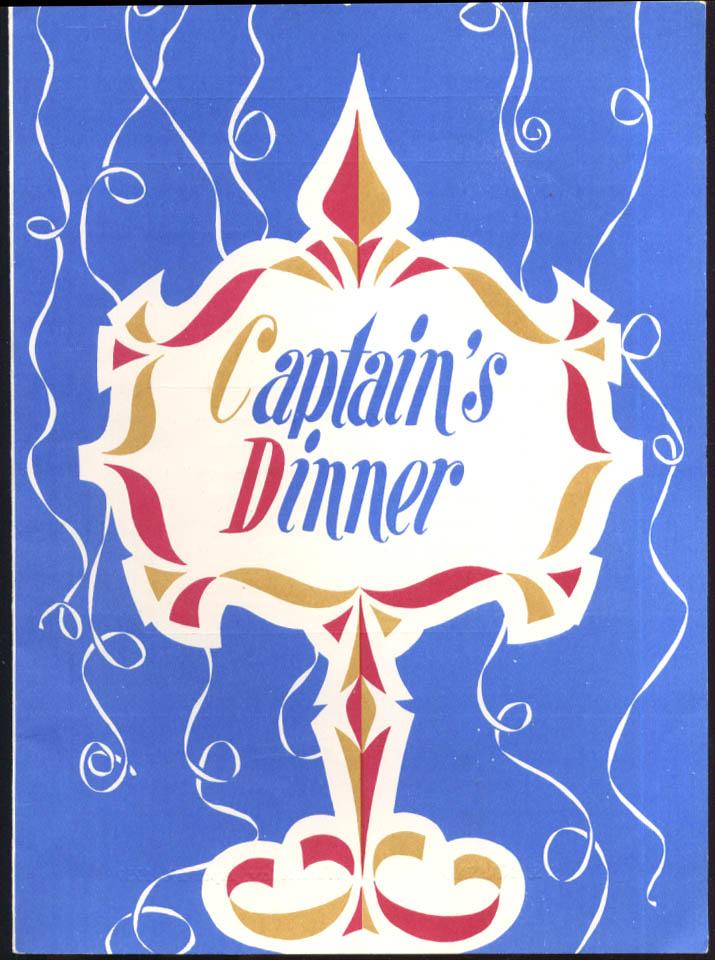Incres Line S S Nassau Captain's Dinner Menu 4/29 1959