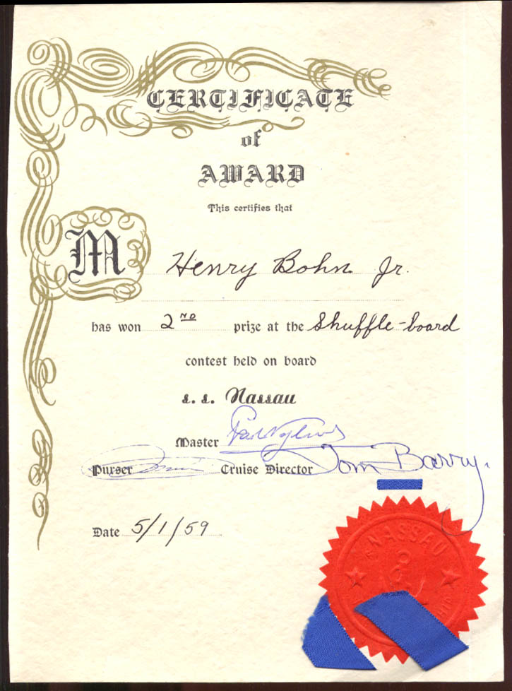 Incres Line S S Nassau Certificate of Award 2nd Prize Shuffleboard 1959