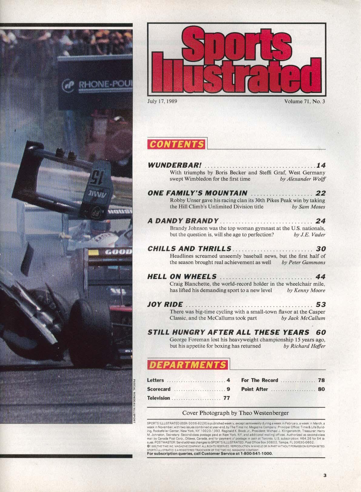 SPORTS ILLUSTRATED George Foreman Mike Tyson Boris Becker Steffi Graf 7/17 1989