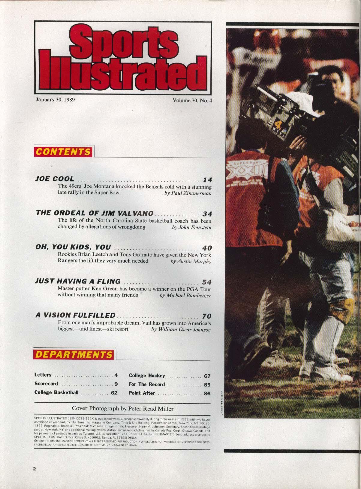SPORTS ILLUSTRATED Jerry Rice Joe Montana Brian Leetch Tony Granato 1/30 1989