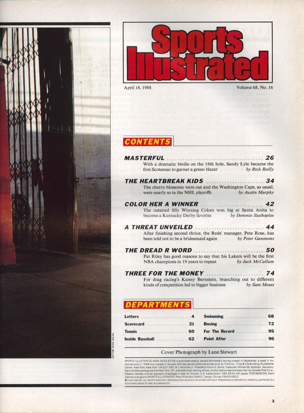 SPORTS ILLUSTRATED Sandy Lyle Pete Rose Pat Riley Kenny Bernstein 4/18 1988