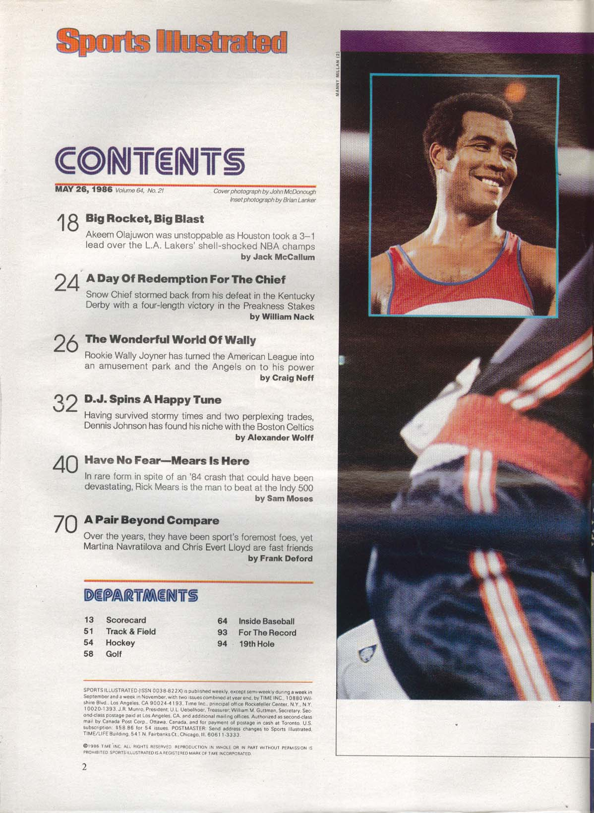 SPORTS ILLUSTRATED Akeem Olajuwon Chris Evert Martina Navratilova 5/26 1986