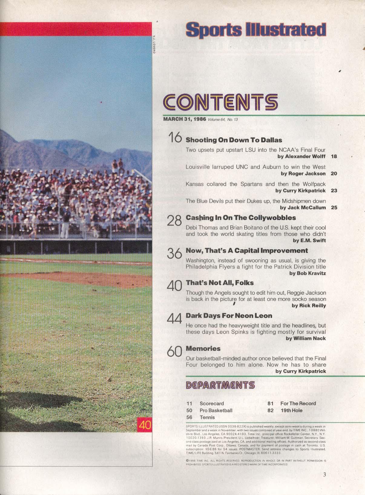 SPORTS ILLUSTRATED Brian Boitano Debi Thomas Reggie Jackson 3/31 1986