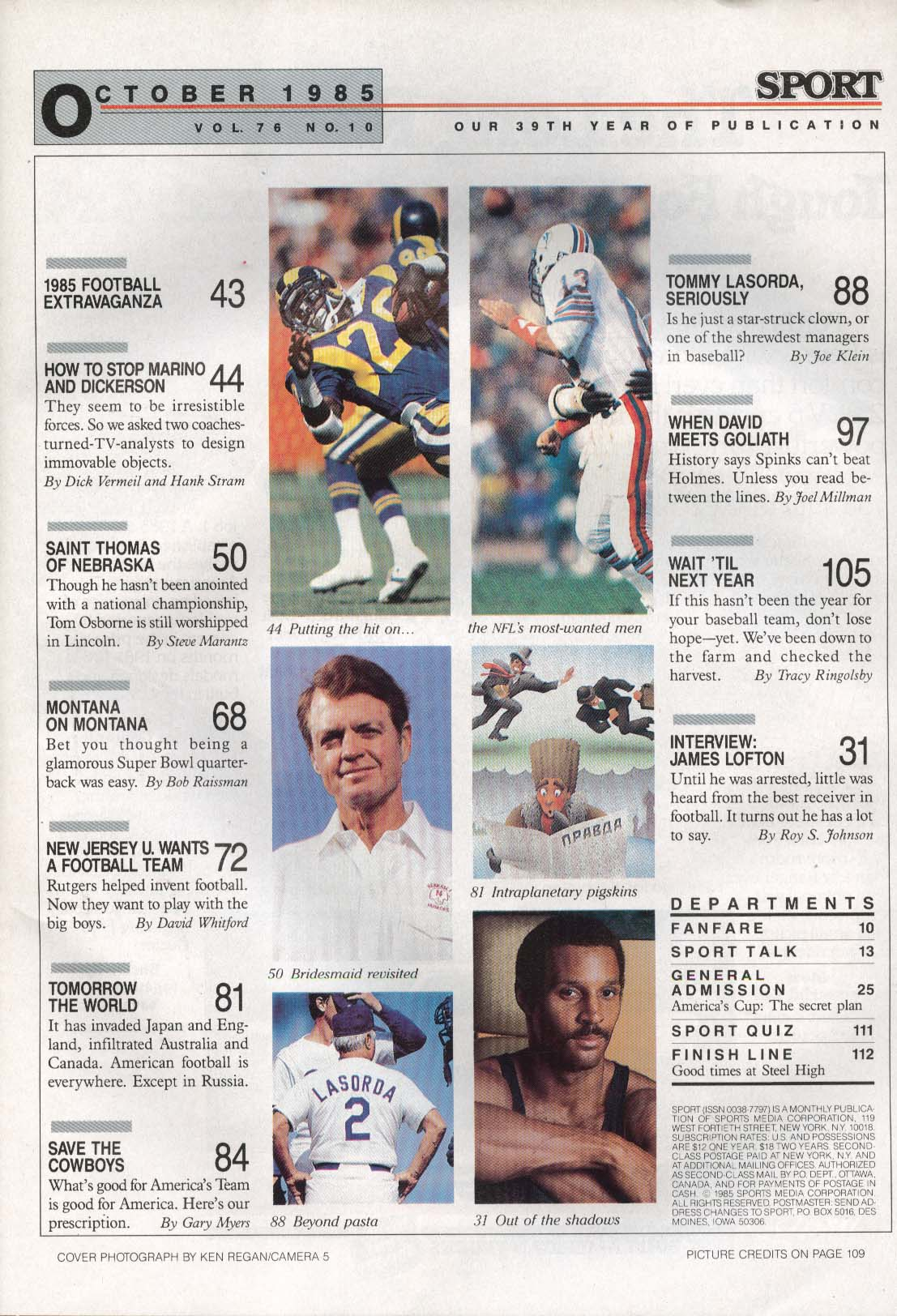 SPORT Dan Marino Joe Montana Tom Osborne James Lofton Tommy Lasorda 10 1985