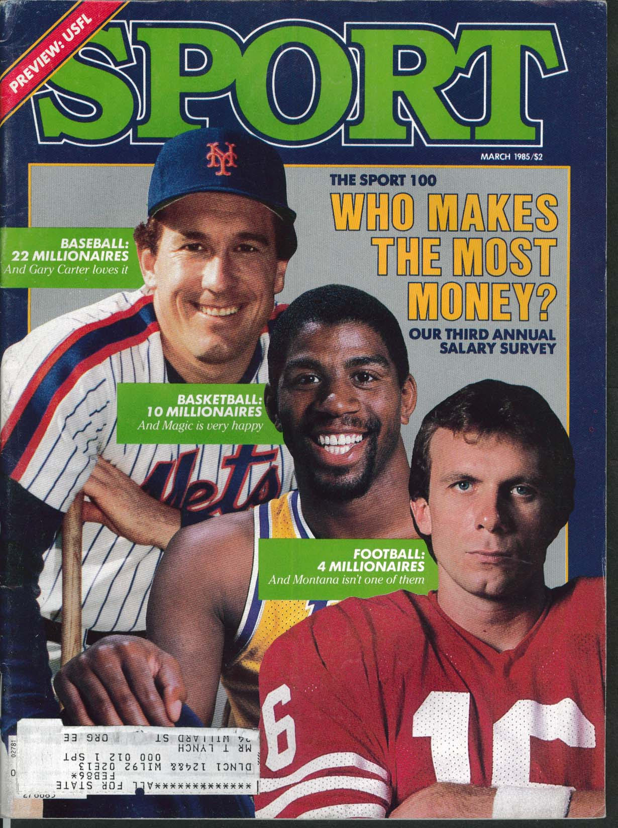 SPORT Gary Carter Magic Johnson Joe Montana Frank Kush Jim Kelly 3 1985