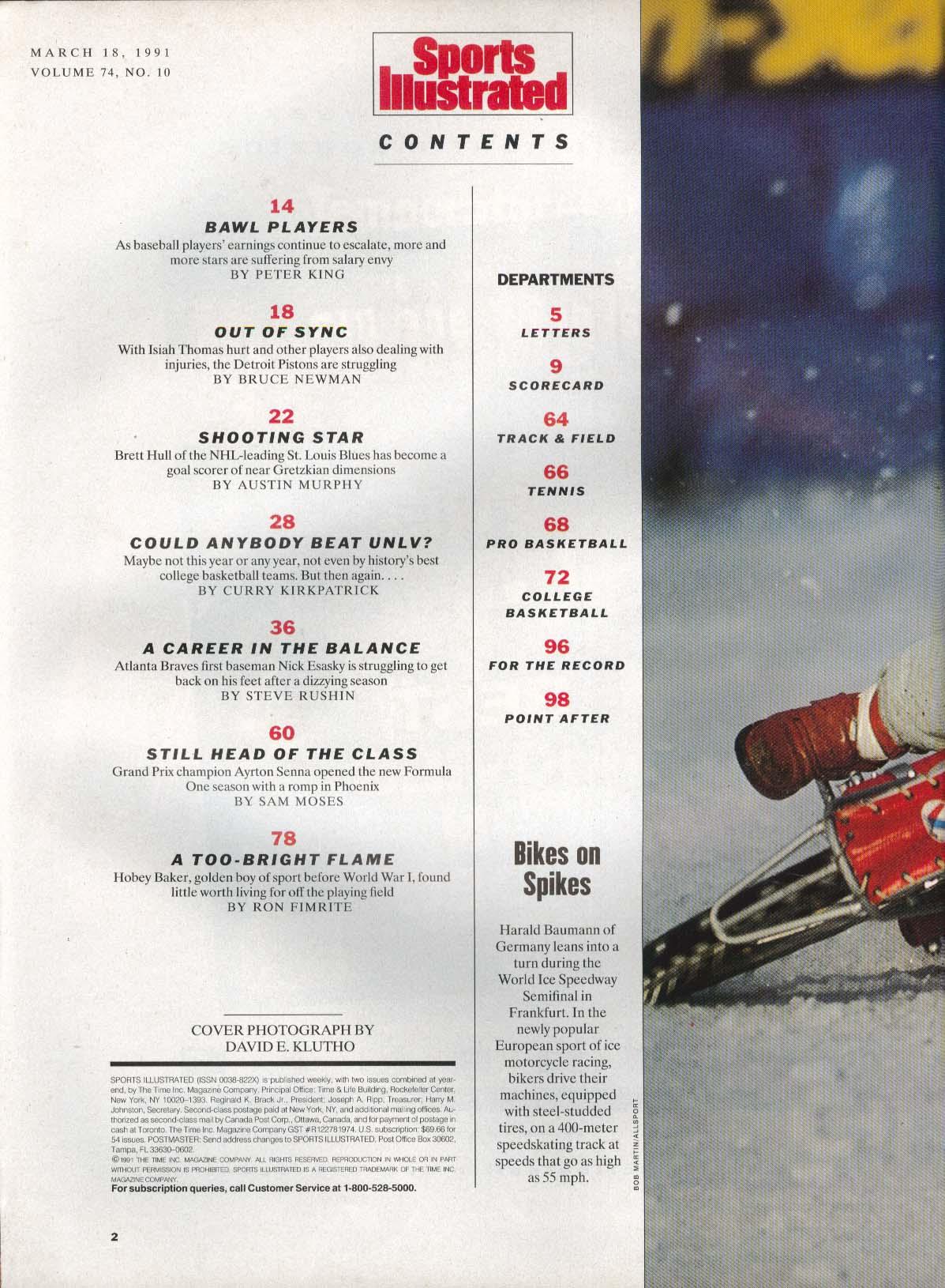 SPORTS ILLUSTRATED Brett Hull Isiah Thomas Nick Esasky Ayrton Senna 3/18 1991