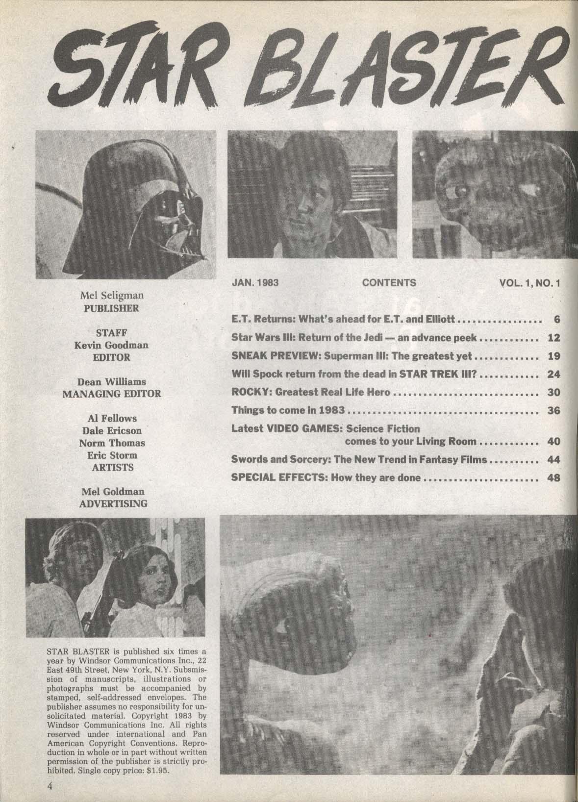 STAR BLASTER Star Trek III Spock Star Wars Return of the Jedi ET Superman 1 1983