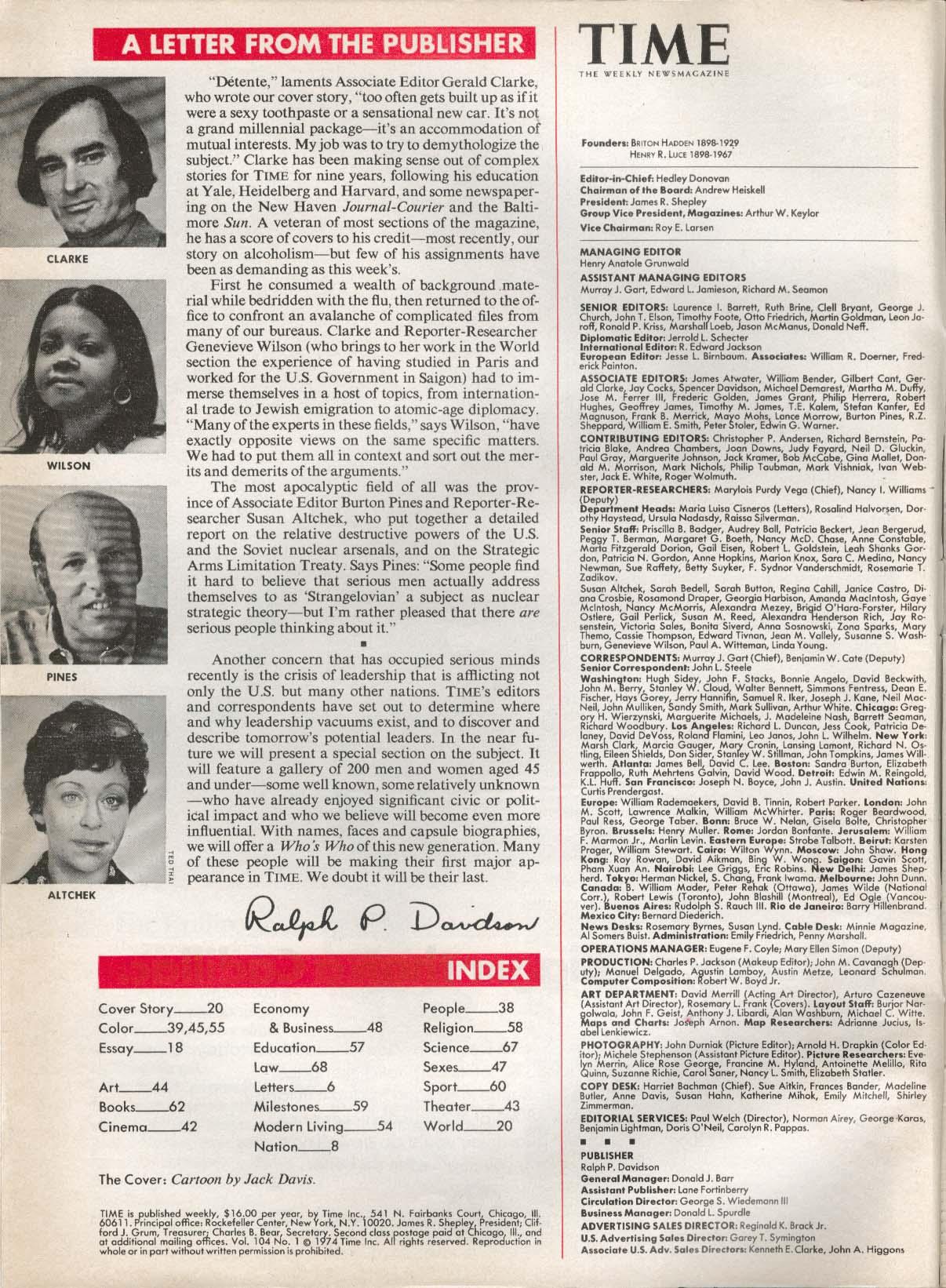 TIME Détente Brezhnev Nixon Jack Davis Watergate Schlesinger 7/1 1974