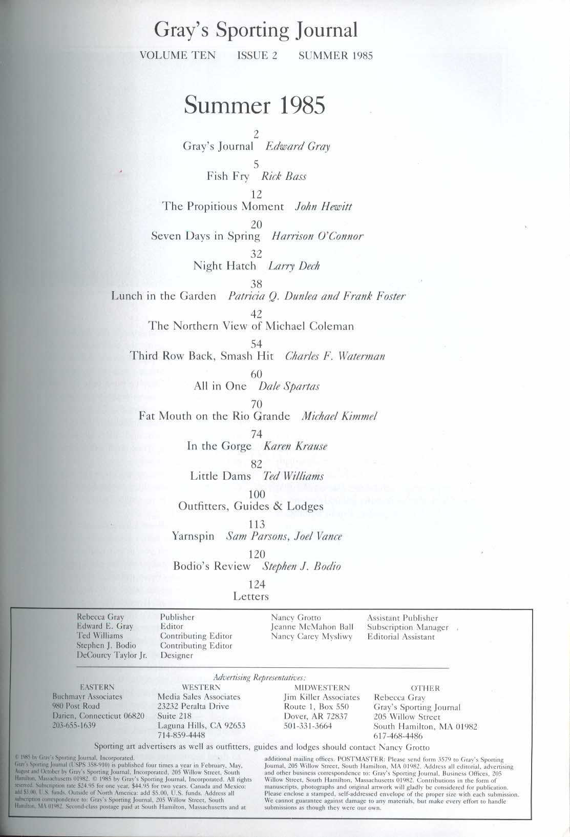GRAY'S SPORTING JOURNAL Vol 10 #2 Michael Coleman Rio Grande Fishing Summer 1985