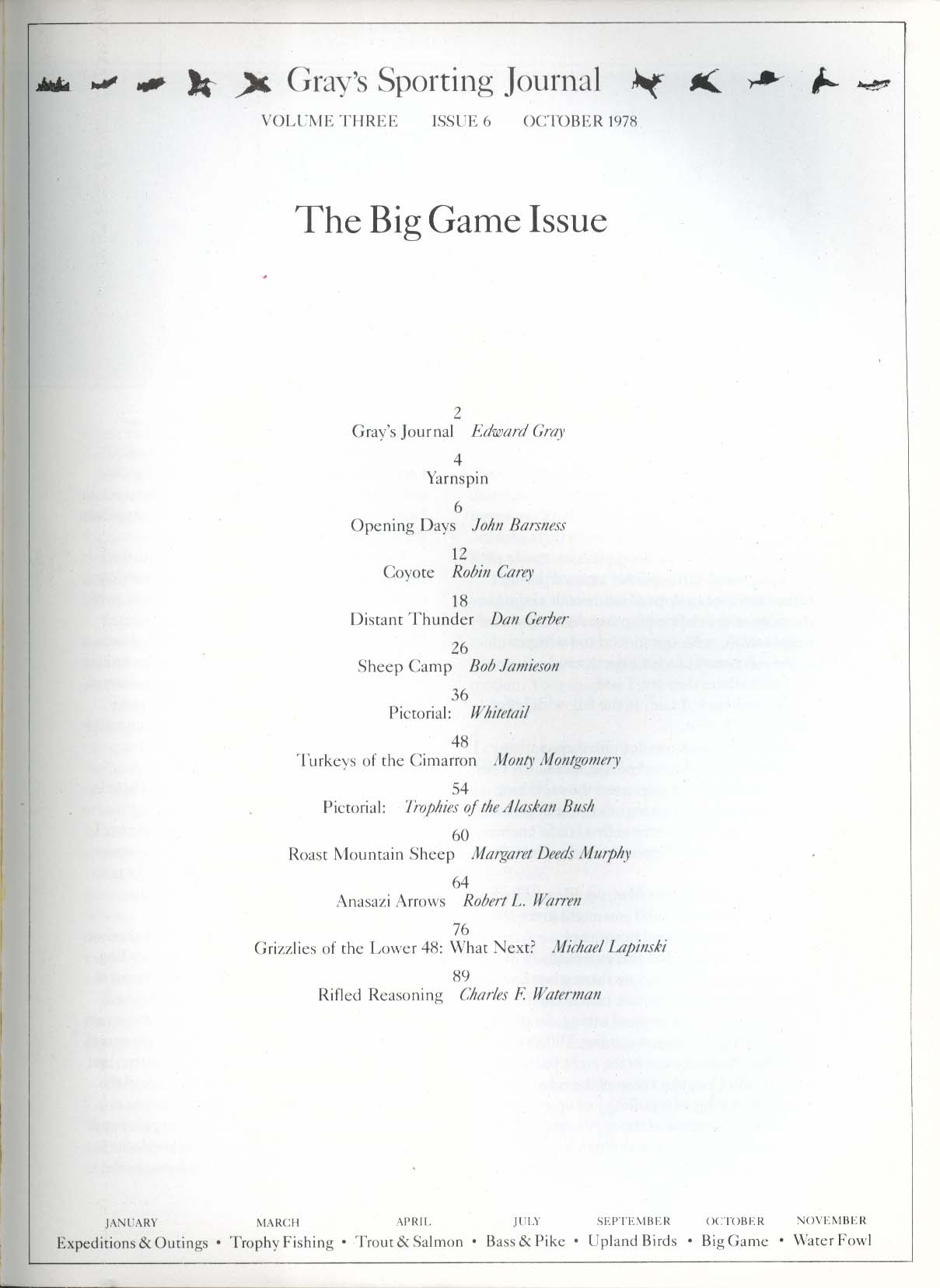 GRAY'S SPORTING JOURNAL Vol 3 #6 Big Game Coyote Turkey of Cimarron 10 1978