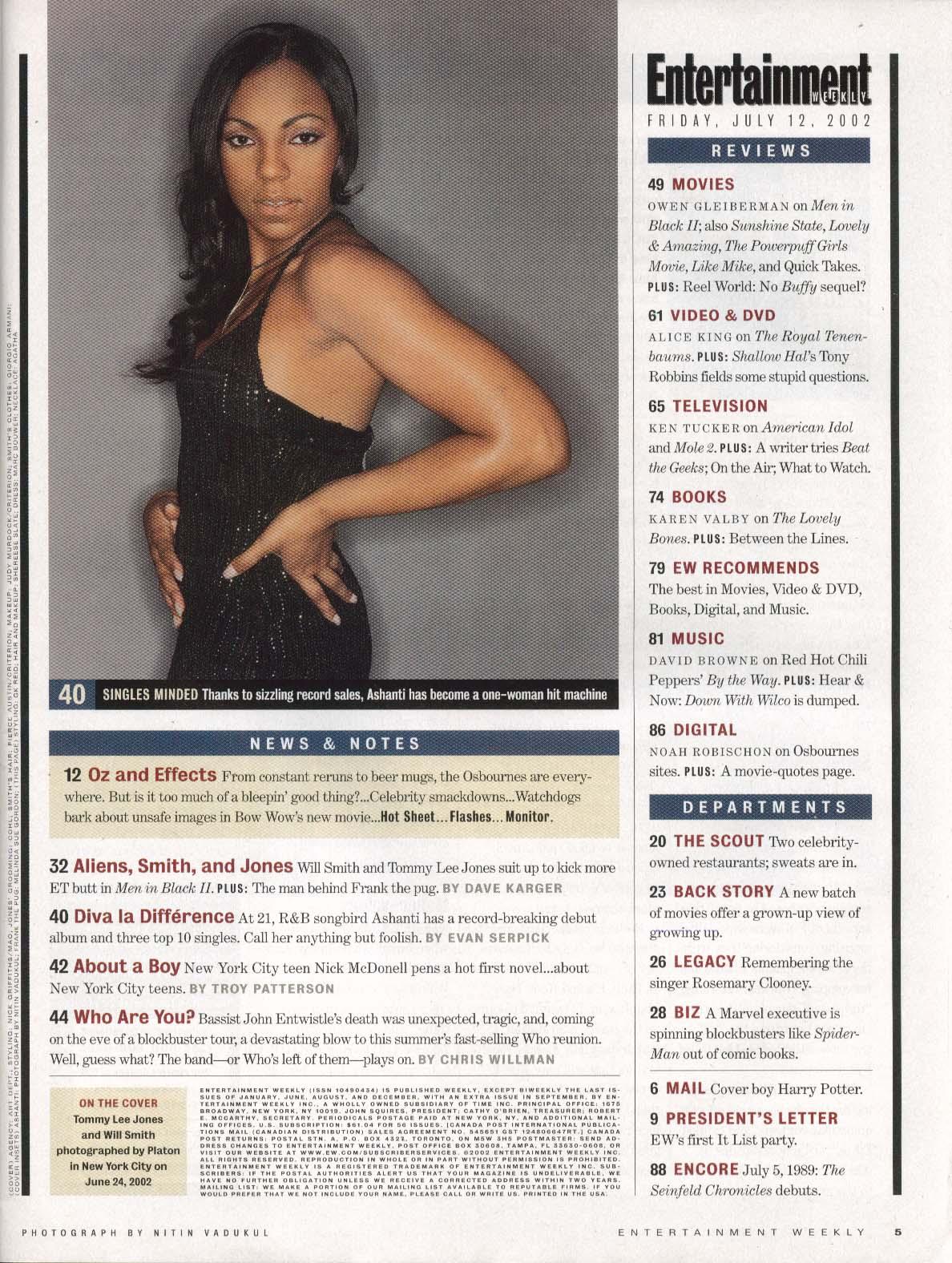 ENTERTAINMENT WEEKLY Tommy Lee Jones Will Smith Ashanti John Entwistle 7/12 2002