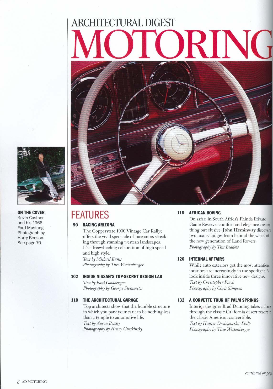 Architectural Digest MOTORING Kevin Costner Copperstate 1000 Nissan Design 1996