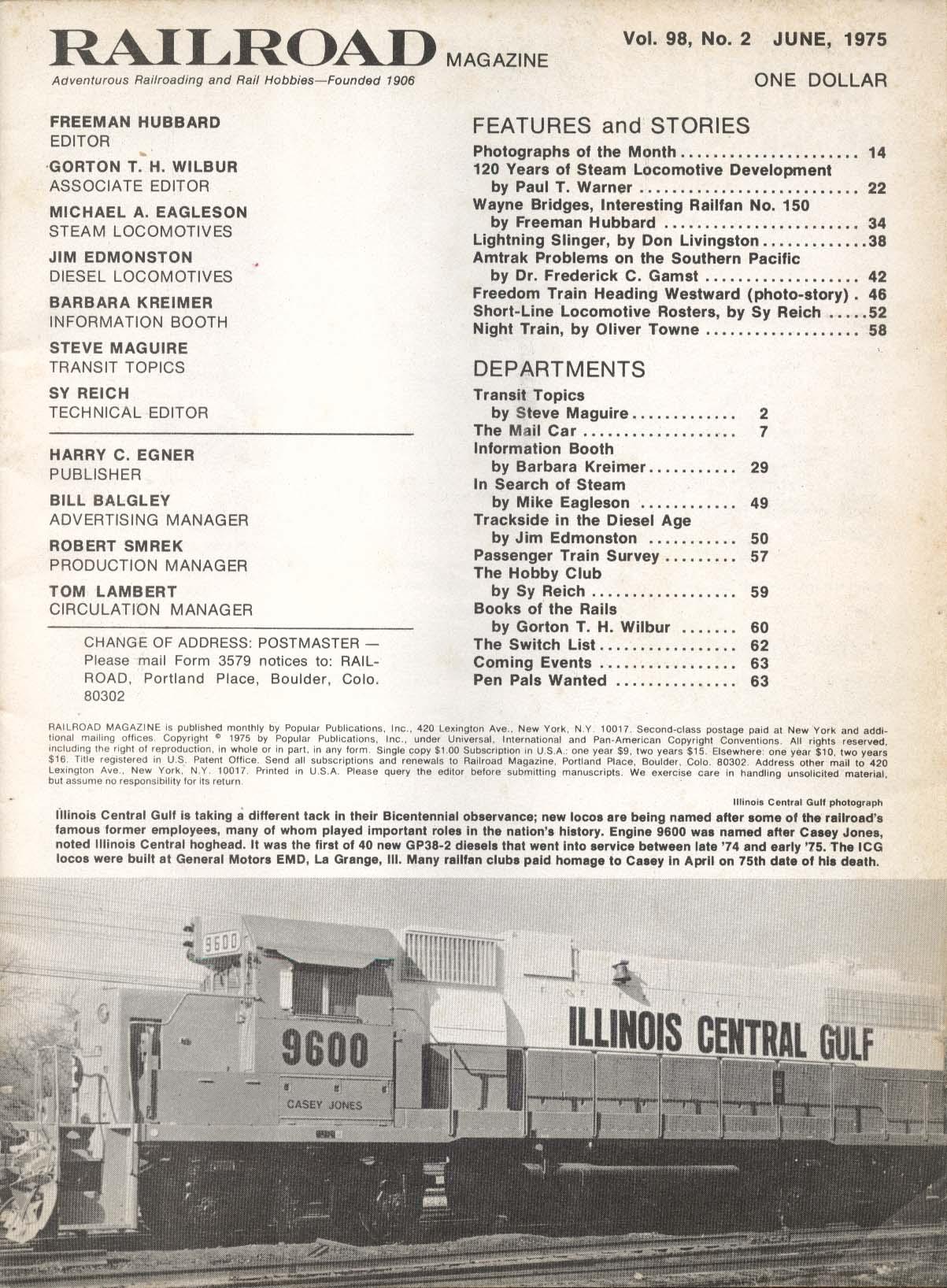 RAILROAD Wayne Bridges Amtrak Southern Pacific Steam Locomotive History 6 1975