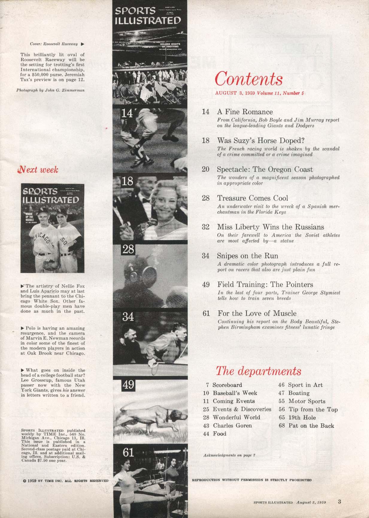 SPORTS ILLUSTRATED Bob Boyle Jim Murray Stephen Birmingham 8/3 1959