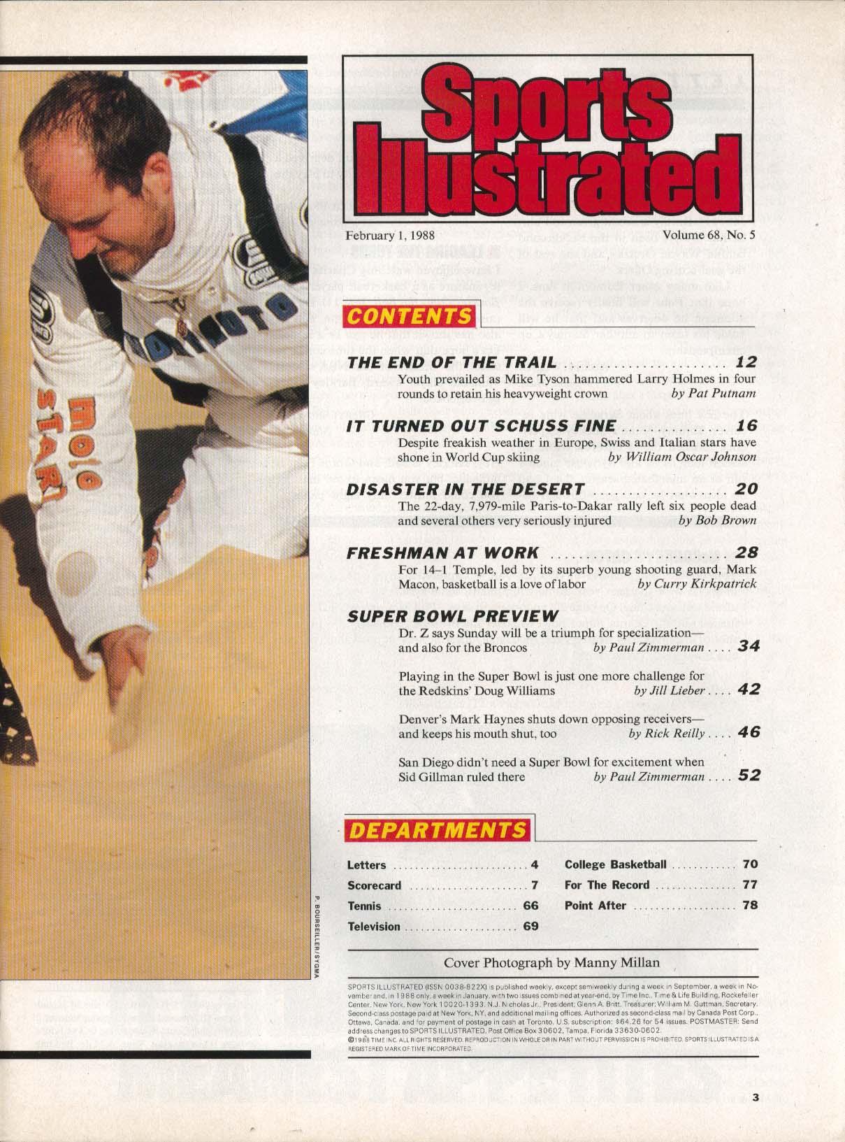 SPORTS ILLUSTRATED Mike Tyson Larry Holmes Mark Macon Doug Wilkins 2/1 1988