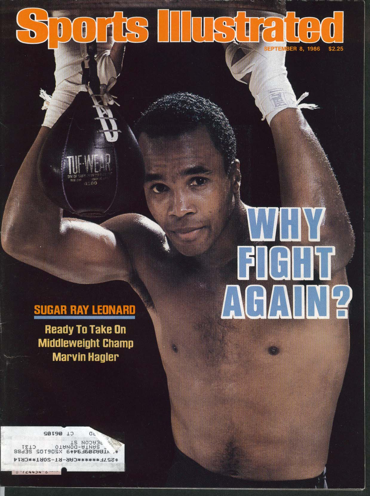 SPORTS ILLUSTRATED Sugar Ray Leonard Marvin Hagler Chet Atkins 9/8 1986
