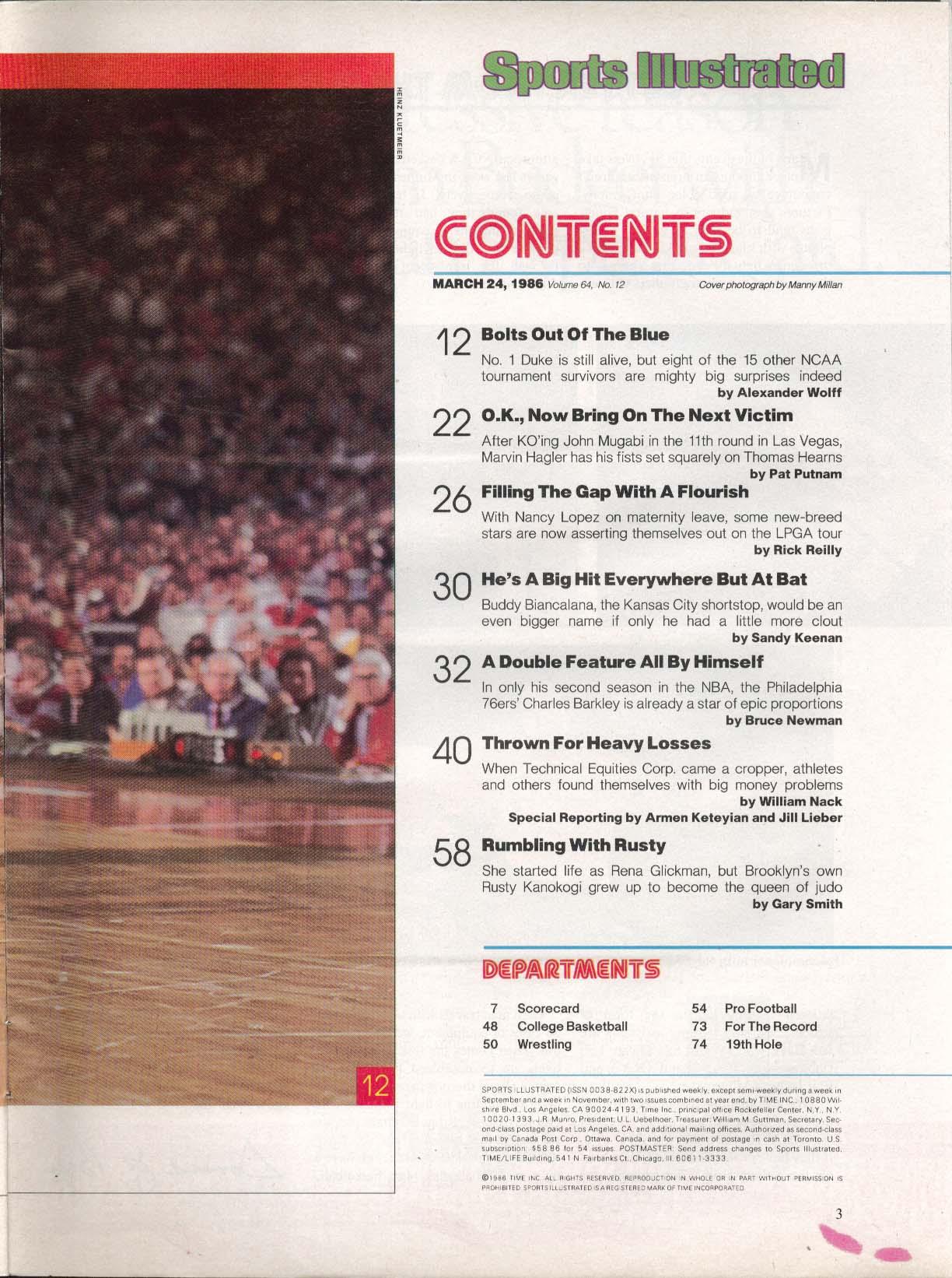 SPORTS ILLUSTRATED Marvin Hagler John Mugabi Nancy Lopez NCAA 3/24 1986