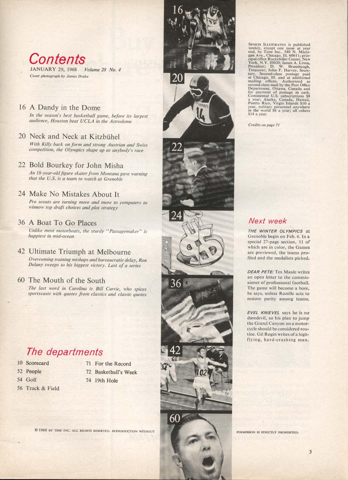 SPORTS ILLUSTRATED Ron Delany Bill Currie John Misha 1/29 1968