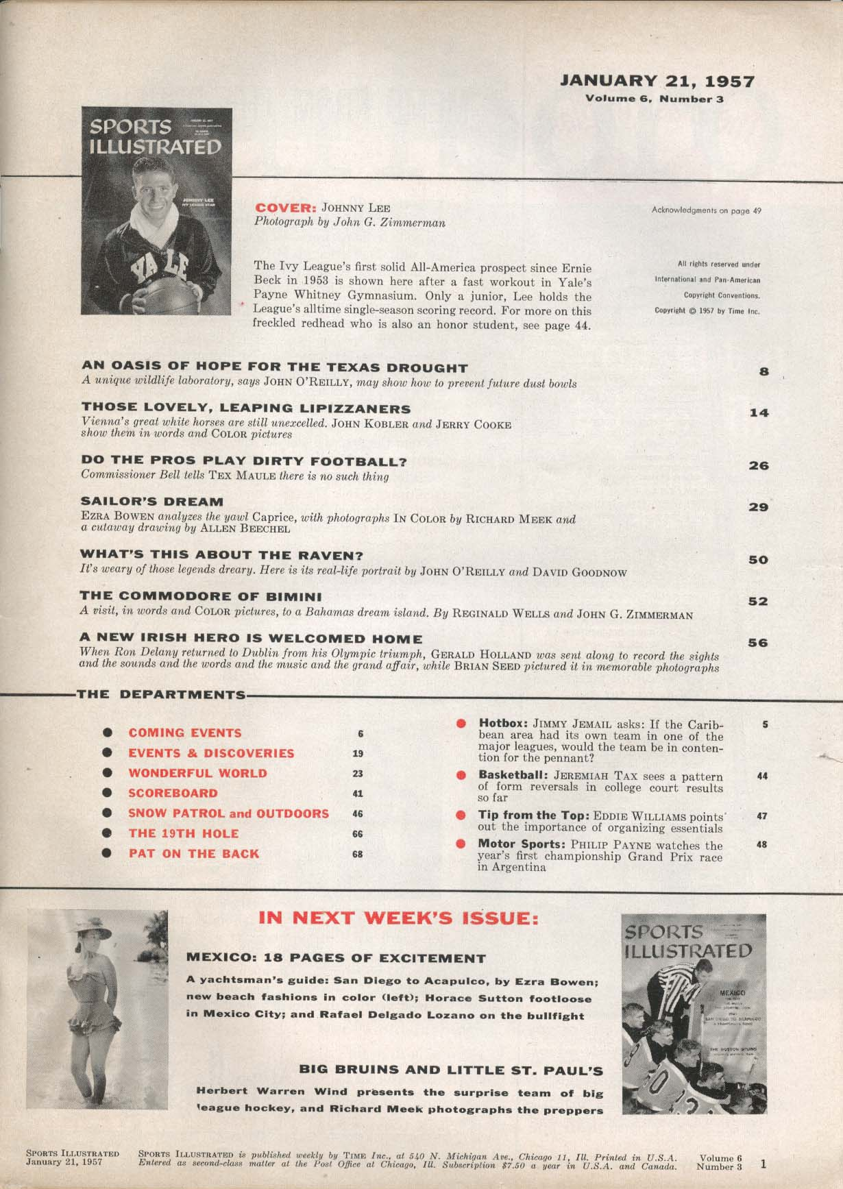 SPORTS ILLUSTRATED Johnny Lee Ron Delany Football Commissioner Bell 1/21 1957