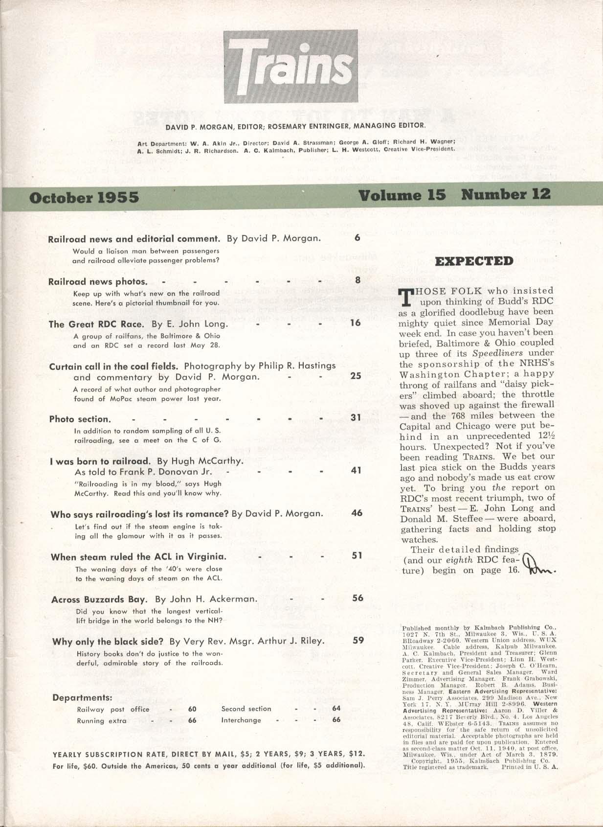 TRAINS Hugh McCarthy ACL Virginia MoPac steam power 10 1955