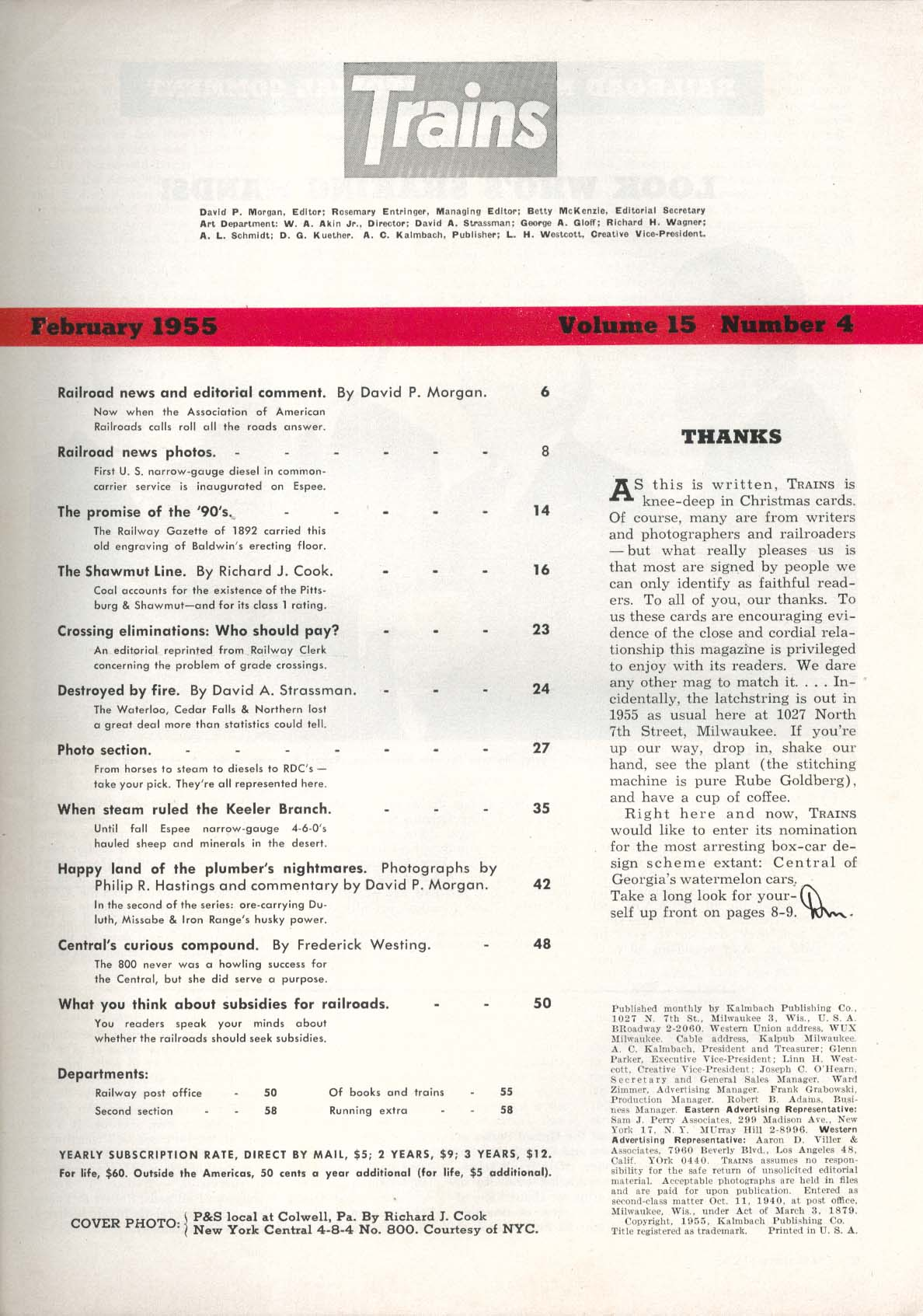 TRAINS Railway Gazette 1892 Waterloo Cedar Falls Northern Keeler Branch 2 1955