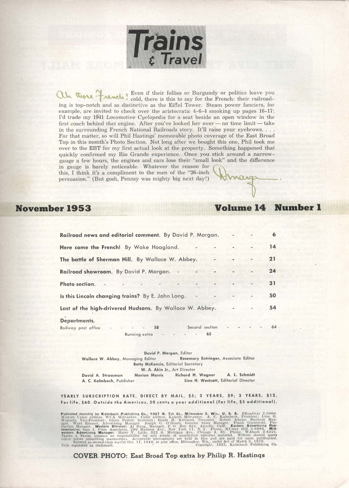 TRAINS & TRAVEL Sherman Hill Lincoln Hudson Wallace Abbey David P Morgan 11 1953