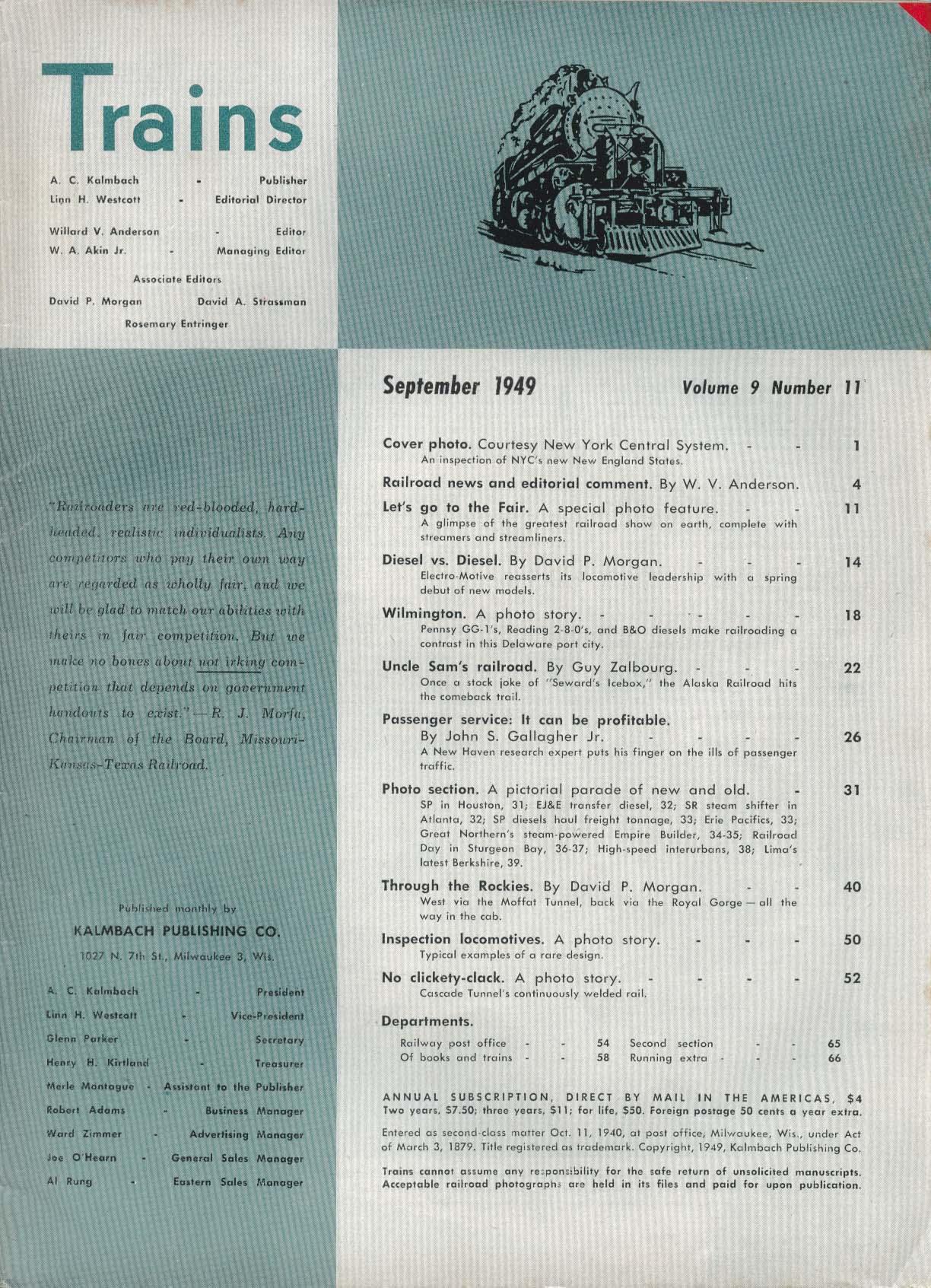 TRAINS Railroad Fair Wilmington GG-1 Reading 2-8-0 B&O Diesel 9 1949
